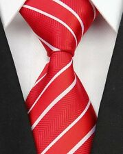 Red and White Striped Silk Classic Woven Horse Show Tie *New*