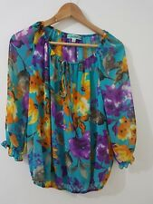 Womens Pleione Sheer Floral Top Shirt Multi-Colour Bow Tie Size XS (Nordstrom)