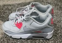 Nike Air Max 90 Leather Gray Pink 4.5 Youth 833376-007 Sneakers Shoes
