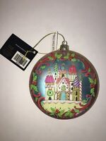 Christmas Holiday Ornament Sphere Merry Christmas Candy Cane Castle Glittery Nwt