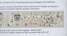 Sampler aux Bouquets (set of 3) - fun cross stitch chart - Jardin Prive