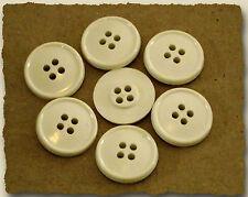 LOT 8 BOUTONS BLANC Cassé écru 18 mm * 4 trous * 1,8 cm white button mercerie