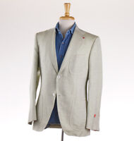 NWT $2795 ISAIA Melon Green Woven Linen-Cotton Sport Coat 38 R (Eu 48)