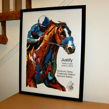 Justify Triple Crown Belmont Stakes Horse Racing Poster Print Wall Art 18x24