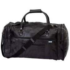 "NEW 21"" Black Leather Duffle Tote Bag Gym Carry On Mens Travel Overnight Luggage"