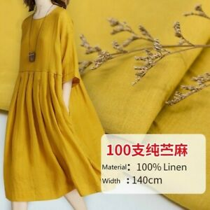 100% Linen Fabric Pure Natural Flax Solid Color Dress Clothes Craft Material