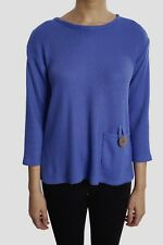 Women's Joseph Ribkoff Solid Blue 3/4 Sleeve Knit Top US 10 UK 12 NEW 181447