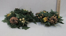 2 Christmas Candle Rings Faux Pine & Pine Cone w/ Shiny Gold Accents 2 Sizes