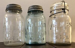 3 Antique ATLAS Mason Jars, One Wire Lid Seal all different Ball Boyd's Lid