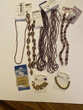 Pink And Rose And Metal Seed And Glass Jewelry Bead Lot