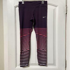 Womens Nike Running Dri Fit Leggings Purple Pink Metallic Stripes sz L