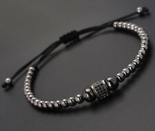 Friendship Fashion Man's Rhodium Plated Diamond Roundel Beaded Macrame Bracelet