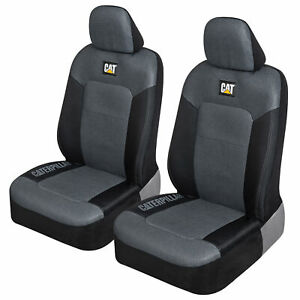 CAT Truck Seat Covers for Front Seats Set - Black & Gray Automotive Seat Covers