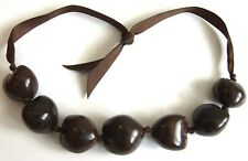 Lovely BROWN Chunky Plastic Beaded Statement NECKLACE