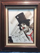 Vintage Original Artist Signed Clown Oil Painting