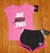 NEW NIKE Girl's Size 4T Dri-Fit Athletic Shorts & T-Shirt Outfit Set NWT BK/PINK