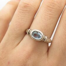 925 Sterling Silver Real Blue Topaz Gemstone Ring Size 7