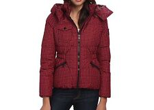 COACH Gingham Check Short Down Puffer Coat Jacket With Hood $495 NWT