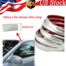 25MM x 5M PVC Chrome Car Side Trim Silver Molding Strip Body Bumper Trucks SUVs