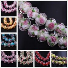 12mm  Faceted Glass Crystal Rose Flower Inside Lampwork Beads Spacer Charms DIY