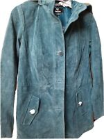 New Dennis Basso WASHABLE Suede Hooded Jacket TEAL GREEN  XS