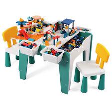 Kindertisch mit 2 Stühlen Multifunktionaler Spieltisch Bausteinen Aufbewahrung