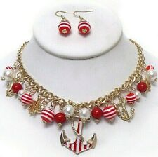 Red Nautical Ship Necklace Set Wheel Anchor Striped Beaded Set