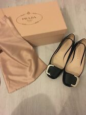 Prada Black Buckle Patent Loafers Size 35