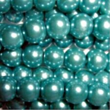 50 pieces 10mm Glass Pearl Beads - Turquoise - A1200