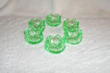 Set of Six 6 Open Salt Cellars Westmoreland Lotus Green Vaseline Glass Uranium