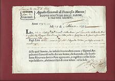 Licenza Vendita e Mescita Vino presso Villa di Castelfranco di Sopra Arezzo 1752