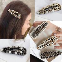 Fashion Girl Pearl Hair Clip Slide hairpin Barrette Headdress Hair Accessories