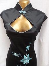 Oriental Chinese Black Turquoise  MANDARIN dress size 10 12