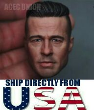 1/6 Brad Pitt Fury Wardaddy Custom Head Sculpt For Hot Toys Body - USA SELLER