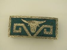 Guadalajara Mexico Sterling Silver Long Horn Steer Belt Buckle Inlayed Turquoise