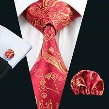 Nuevo Diseñador Italiano Rojo/Oro Paisley Seda Corbata, pañuelo, gemelos