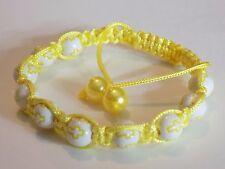No Metal Adjustable Yellow Christian Faith Cross Beads Shamballa Bracelet
