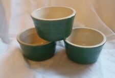 LE CREUSET ceramic ramekins x 3 in green