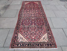 Old Traditional Hand Made Persian Orienta Runner Rug 290x116cm Pink Wool