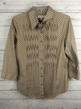 Coldwater Creek Pinch Pleat Shirt Top Medium Brown 3/4 Sleeve