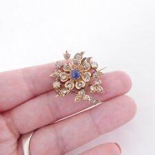 18ct gold cabochon sapphire rose cut diamond brooch, Victorian 7.6 grams