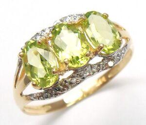 SYJEWELLERY 9CT SOLID YELLOW GOLD NATURAL OVAL PERIDOT & DIAMOND RING SIZ M R978