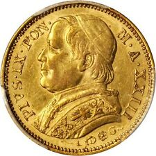ITALY PAPAL STATES 1868 20 LIRE GOLD COIN ALMOST UNCIRCULATED CERTIFIED PCG AU55