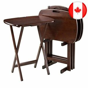 Winsome Wood 94577 Lucca 5-Piece Set TV Tables with Handle