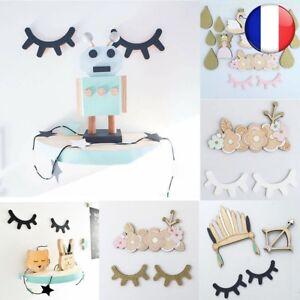 Cils Bois Décoration Mode Mur Autocollant Yeux Stickers Décor 3D Chambre Enfants