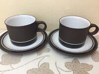 Hornsea Contrast 2 x Tea Cups & Saucers Superb Condition