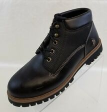 US Polo Assn Ankle Boots Black Leather Lace Up Mens Shoes Size 10