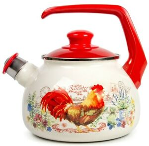 Enameled Kettle Teapot Whistle Rooster Decal 2.6 qt. Durable from Serbia