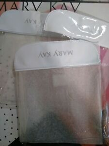 LOT OF 3 MARY KAY SMALL CLEAR/WHITE POUCH FOR PURSE, COSMETICS READ DESCRIPTION