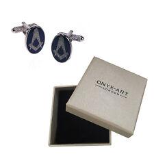 Mens Blue Oval Masonic Symbol Cufflinks & Gift Box - The Masons By Onyx Art